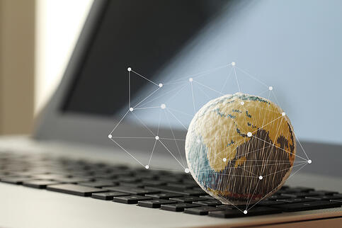 hand drawn texture globe with social media diagram on laptop computer as internet concept-1
