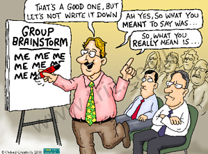cartoon of a man taking over a brainstorming session, structured innovation requires brainstorming but it can go wrong