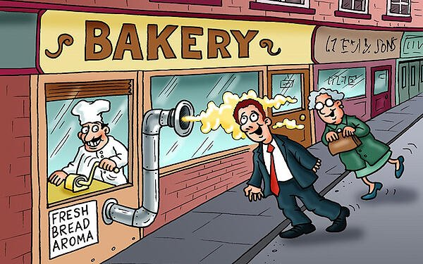 Cartoon of a baker piping fresh bread aroma out of his bakery to tempt customers, using the resources the baker has to innovate