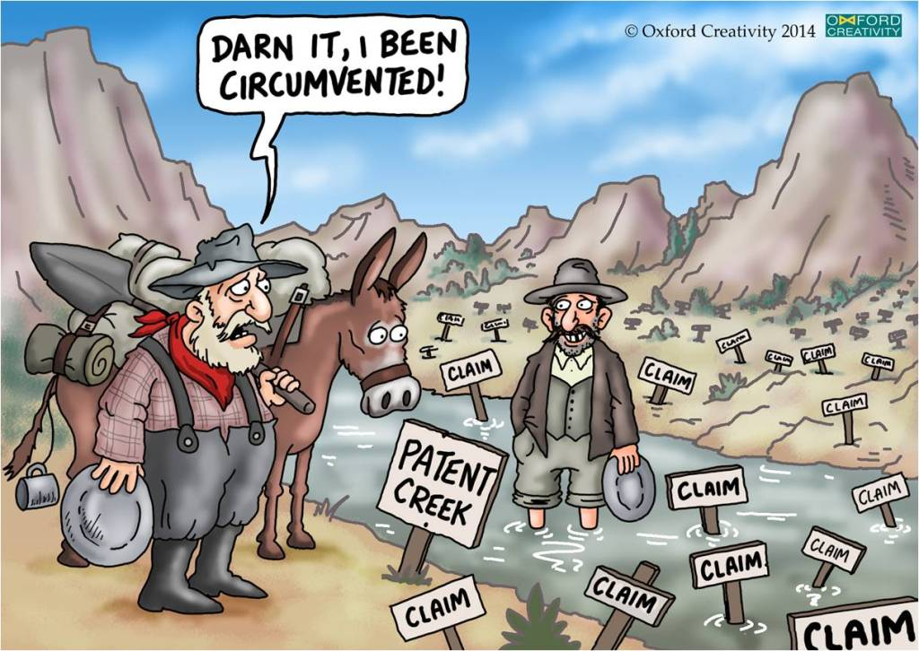 "Cartoon of old prospector complaining that the creek has been patented - ""Darn it, I been circumvented"""